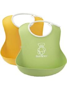 BabyBjorn Нагрудник мягкий пластиковый для кормления ребенка (2 шт.), Желтый-зеленый