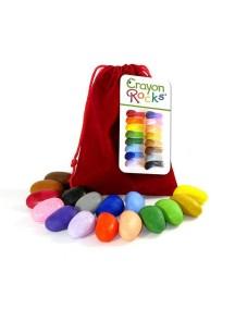 Мелки камушки восковые для рисования - набор 16 шт. в красном бархатном мешочке