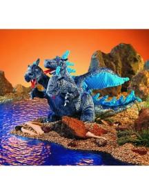 Мягкая игрушка на руку Дракон трехглавый голубой, 25см от Folkmanis