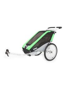Легкая детская коляска Thule Chariot Cheetah 1 (Туле Шариот Чита 1), в комплекте с велосцепкой, зеленый, 14-