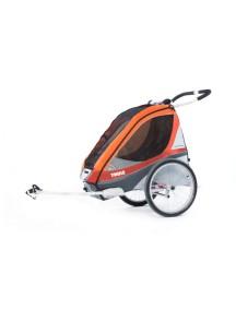 Легкая детская коляска Thule Chariot Corsaire 1 (Туле Шариот Корсар 1), в комплекте с велосцепкой, абрикосовый, 14-