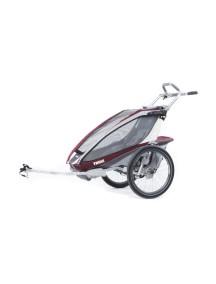 Легкая детская коляска Thule Chariot CX 1 (Туле Шариот Си Икс1) в комплекте с велосцепкой, бордовый, 14-
