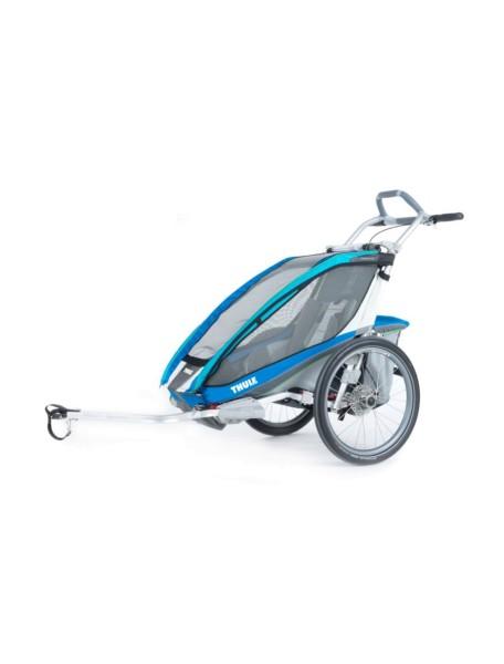 Легкая детская коляска Thule Chariot CX 1 (Туле Шариот Си Икс1) в комплекте с велосцепкой, синий, 14-