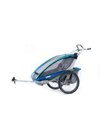 Легкая коляска для 1-го или 2-х детей Thule Chariot CX 2 (Туле Шариот Си Икс2) в комплекте с велосцепкой, синий, 14-