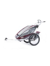 Легкая детская коляска Thule Chariot CX 2 (Туле Шариот Си Икс2) в комплекте с велосцепкой, бордовый, 14-