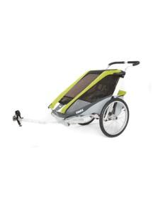 Коляска для 1-го или 2-х детей Thule Chariot Cougar 2 (Туле Шариот Кугар 2), в комплекте с велосцепкой, зеленый, 14-