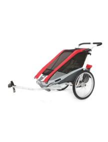 Коляска для 1-го или 2-х детей Thule Chariot Cougar 2 (Туле Шариот Кугар 2), в комплекте с велосцепкой, красный, 14-