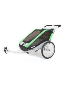 Легкая коляска для 1-го или 2-х детей Thule Chariot Cheetah 2 (Туле Шариот Чита 2), в комплекте с велосцепкой, зеленый, 14-