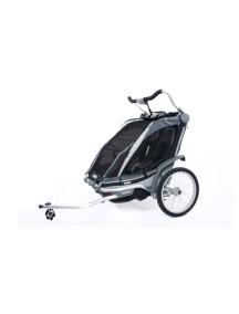 Коляска для 1 или 2-х детей Thule Chariot Chinook 2 (Туле Шариот Чинук 2), в компл. с наб. спорт. и прогул. коляски, черный, 14-