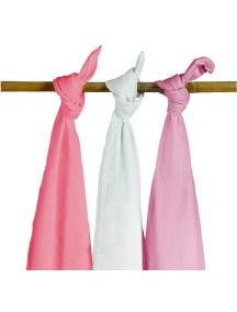 Комплект многоцелевых пеленок (муслин) Jollein 115х115 см, 3 шт, фуксия/розовая/белая