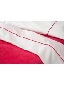Комплект простыня 100х150 см и наволочка 40х60 см Jollein, цвет белый с кантом фуксии