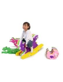 Развивающий коврик-пазл-качалка с игрушками - лошадка, черепаха, курочка