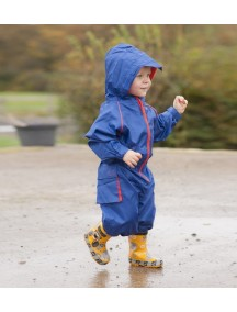 Детский непромокаемый мембранный комбинезон Хиппичик (весна-лето-осень) синий с флисом