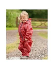 Детский непромокаемый мембранный комбинезон Хиппичик (весна-лето-осень) красный с флисом