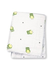 Муслиновая пелёнка Lulujo Зелёные совы (Green Owls muslin wrap)
