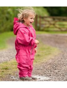 Детский утепленный непромокаемый мембранный комбинезон Хиппичик (весна-лето-осень) розовый с флисом