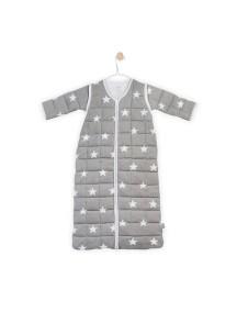 """Универсальный спальный мешок со съемными рукавами """"4-сезона"""", 110 см Jollein, цвет серые звезды"""