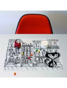 Детская салфетка-раскраска многоразовая KAT IN THE CITY (подарочный набор)