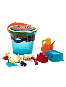 Большое ведерко и игровой набор для песка, 10 деталей (голубой)