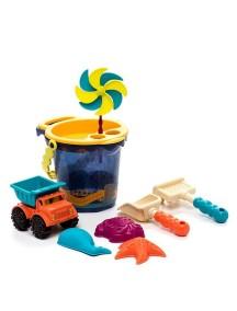 Малое ведерко и игровой набор для песка (9 деталей), голубой B Dot. Battat