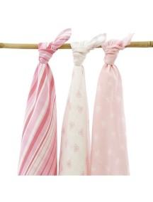 Комплект многоцелевых пеленок (муслин) Jollein 115х115 см, 3 шт, Розовые Сердечки