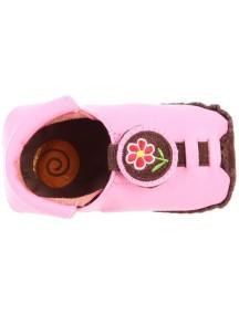 Детская обувь Shupeas Original. Натуральная кожа. Цвет - Розовый. Рисунок - Тёмно-розовый цветок