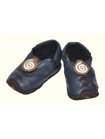Детская обувь Shupeas Original. Натуральная кожа. Цвет - Синий. Рисунок - Кремовая змейка
