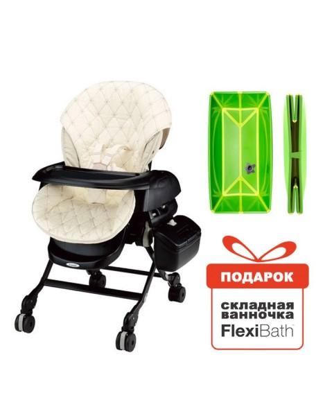 Электронная многофункциональная люлька-стульчик 5 в 1 COMBI Fealetto Auto Swing LX/CN Black (чёрная) от рождения до 4 лет