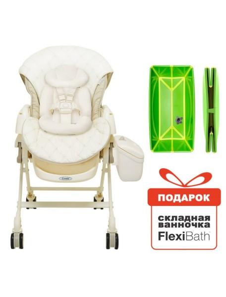 Электронная многофункциональная люлька-стульчик 5 в 1 COMBI Fealetto Auto Swing EX/FV Beige (бежевая) от рождения до 4 лет