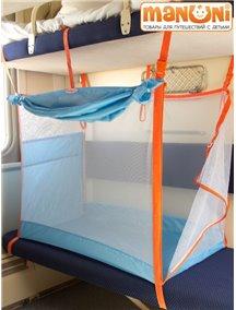 ЖД-манеж в поезд для детей Manuni от 0 до 3 лет голубой с белой сеткой (4 стенки + шторка)