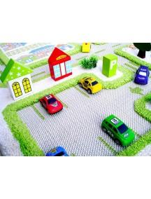Детский гипоаллергенный игровой 3D ковер IVI, Трафик Зеленый - 80х100 см.