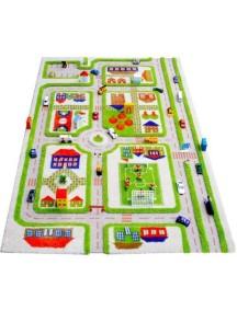 Детский гипоаллергенный игровой 3D ковер IVI, Трафик Зеленый - 100х150 см.