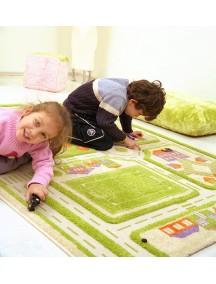 Детский гипоаллергенный игровой 3D ковер IVI, Трафик Зеленый - 134х180 см.