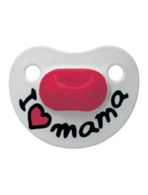 """Bibi """"Mama - Papa Classic"""" Ночная пустышка силикон с 6 мес. Форма скошенная, 108091 / Мама"""