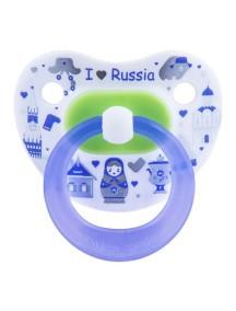 """Bibi """"Я люблю Россию"""" Дневная пустышка силиконовая 0-6 мес. Форма скошенная"""
