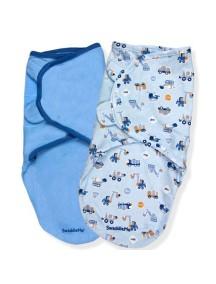 """Summer Infant """"SwaddleMe"""" Конверт для пеленания (2 шт. в комлекте), 70120 / Синий с машинками, S/M"""