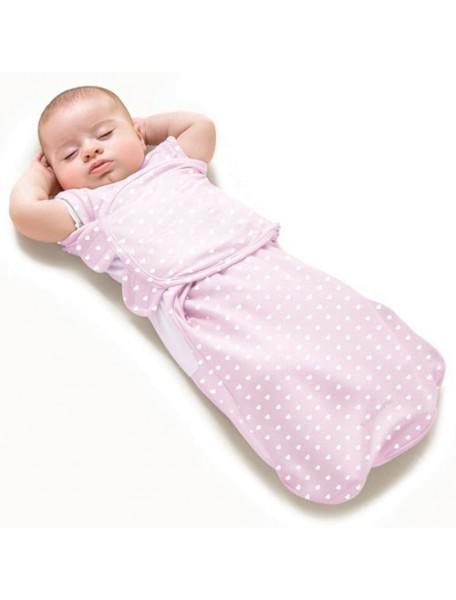 "Summer Infant ""SwaddleMe WrapSack"" Конверт для пеленания с 2-мя способами фиксации, 87090 / Розовый с сердечками, L"