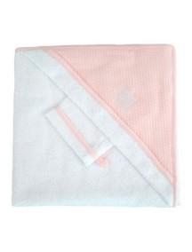 """Red Castle """"Hooded Towel"""" Махровое полотенце с уголком и варежка для купания , 030404 / White-Pink"""