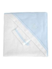 "Red Castle ""Hooded Towel"" Махровое полотенце с уголком и варежка для купания , 030405 / White-LT Blue"