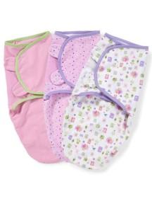 "Summer Infant ""SwaddleMe"" Конверт для пеленания (3 шт. в комлекте), 73985 / Розовые рисунки, S/M"
