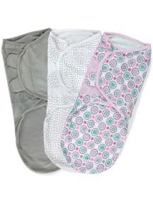 "Summer Infant ""SwaddleMe"" Конверт для пеленания (3 шт. в комлекте), 75860 / Розовые цветы, L"