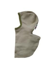 """Babyidea """"ManyMonths"""" Шапка-шлем из шерсти мериноса , 1-5 лет, Натуральный с зеленым к"""