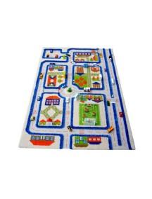 Детский гипоаллергенный игровой 3D ковер IVI, Трафик Голубой - 100х150 см.