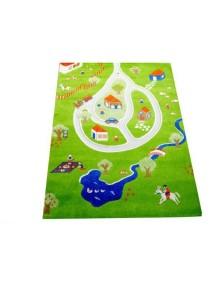 Детский гипоаллергенный игровой 3D ковер IVI, Дача синий - 100х150 см.
