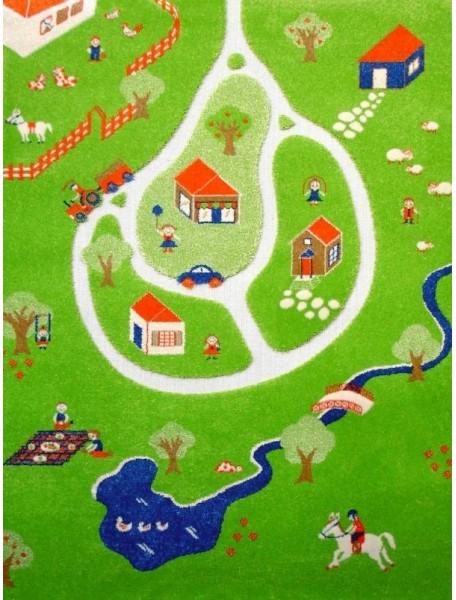 Детский гипоаллергенный игровой 3D ковер IVI, Дача синий - 160х230 см.