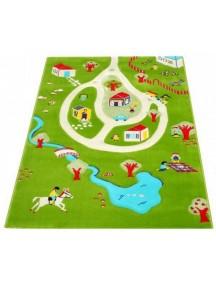 Детский гипоаллергенный игровой 3D ковер IVI, Дача бирюзовый - 100х150 см.