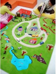 Детский гипоаллергенный игровой 3D ковер IVI, Дача бирюзовый - 160х230 см.