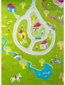Детский гипоаллергенный игровой 3D ковер IVI, Дача желтый - 134х180 см.
