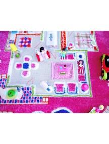 Детский гипоаллергенный игровой 3D ковер IVI, Игровой домик розовый - 80х100 см.