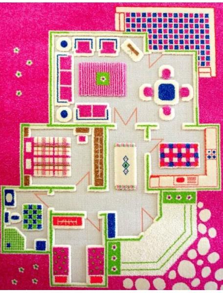 Детский гипоаллергенный игровой 3D ковер IVI, Игровой домик розовый - 100х150 см.